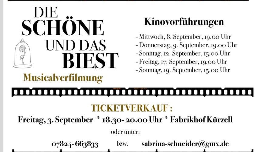 """Ticketverkauf Musicalverfilmung            """"Die Schöne und das Biest"""""""